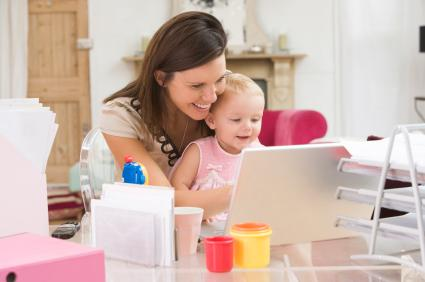 busy mom in office with kid